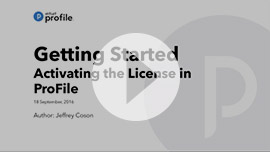 Getting Started: Activating the license in ProFile