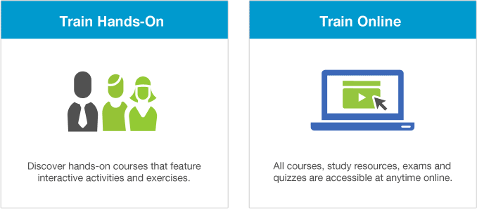 Train Online: All courses, study resources, exams and quizzes are accessible at anytime online. Train Hands-on: Discover hands-on courses that feature interactive activities and exercises.
