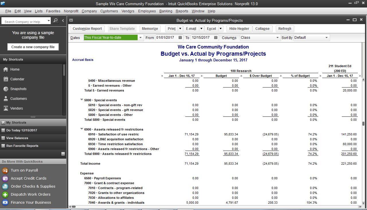 non profit income statement template