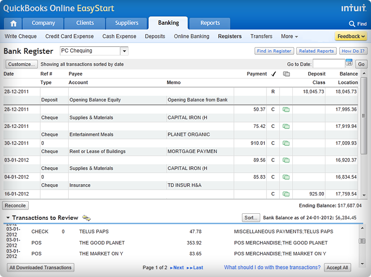 Screenshot - get set up quickly and keep your finances organized