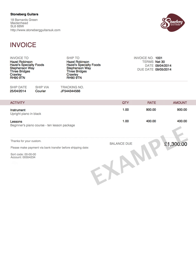 company invoice template uk – notators, Invoice examples