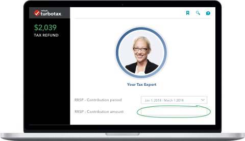 Laptop showing RRSP entry with tax expert assistance