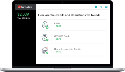 Laptop showing credits and deductions