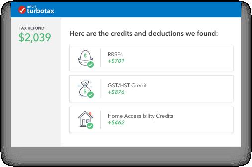 Screenshot: Credits & Dedutions
