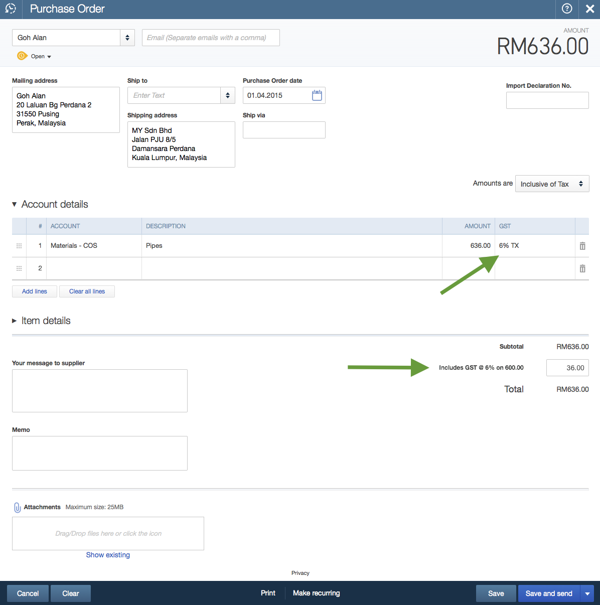 GST in QuickBooks Online – Sample Local Purchase Order