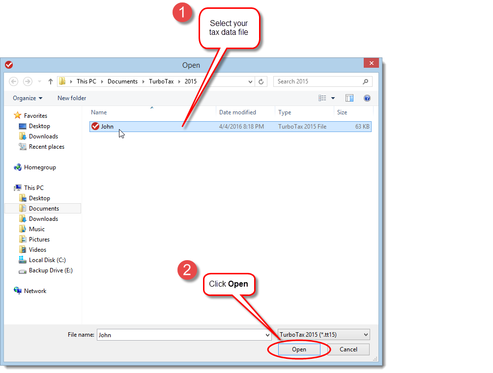 TurboTax CD/download edition | Open dialog box to open tax return that you created previously