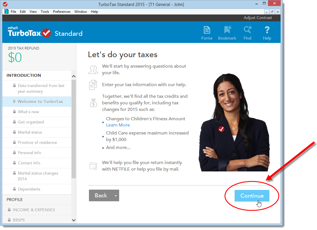 TurboTax CD/download edition | First screen after transferring data from previous year's return