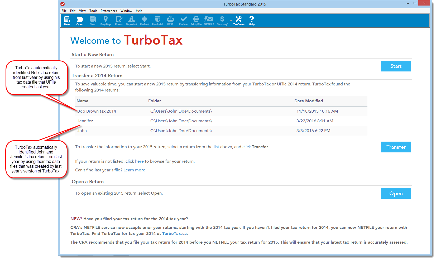 TurboTax CD/download edition Welcome screen show tax data files available to transfer information from