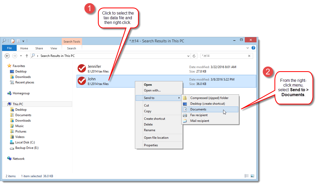 TurboTax CD/download edition | Send tax data files to the Documents folder